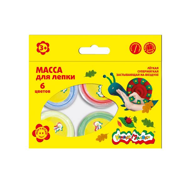 Масса для лепки Каляка-Маляка 6 цветов 14 г