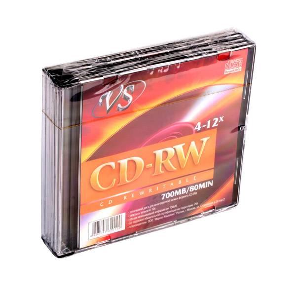 Диск CD-RW VS 700 Мб 4-12х slim/5