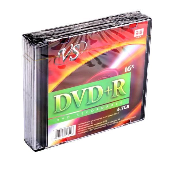 Диск DVD+R VS 4,7 Гб 16х slim/5