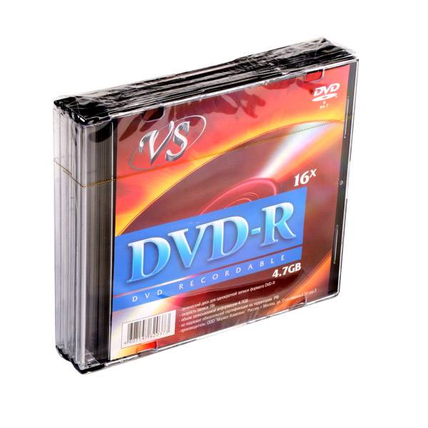 Диск DVD-R VS 4,7 Гб 16х slim/5