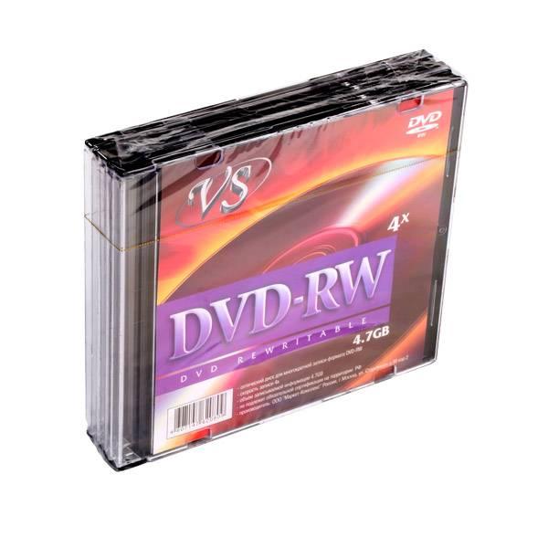 Диск DVD-RW VS 4,7 Гб 4х slim/5