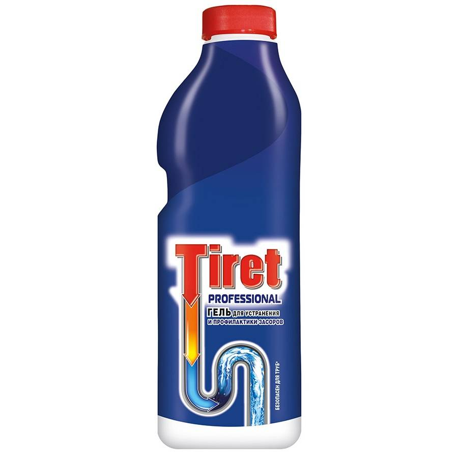 Чистящее средство для канализационных труб, гель TIRET Профессионал 1 л