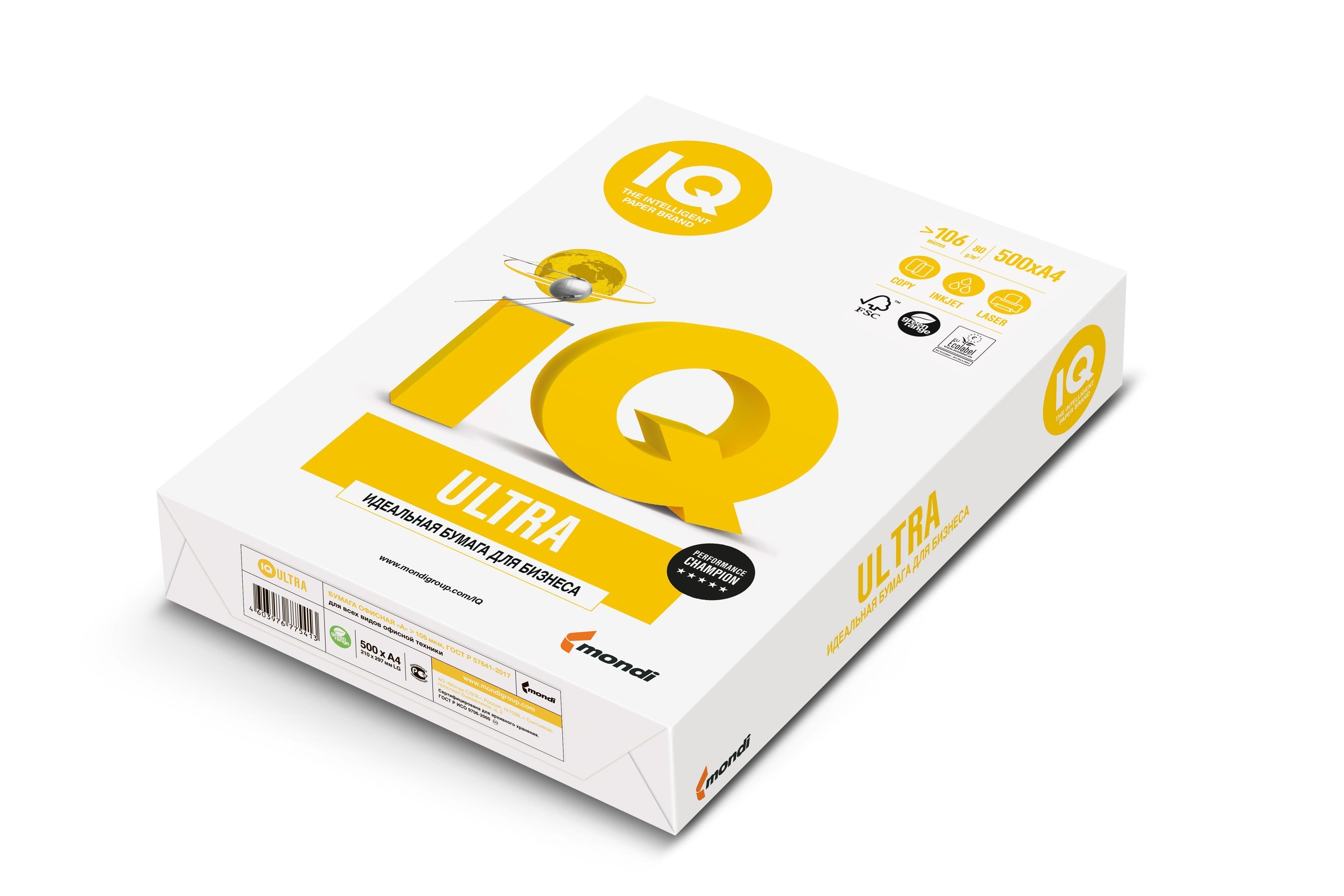 Бумага IQ ULTRA А4, 80 г/м2, 500 листов, 168% (CIE)