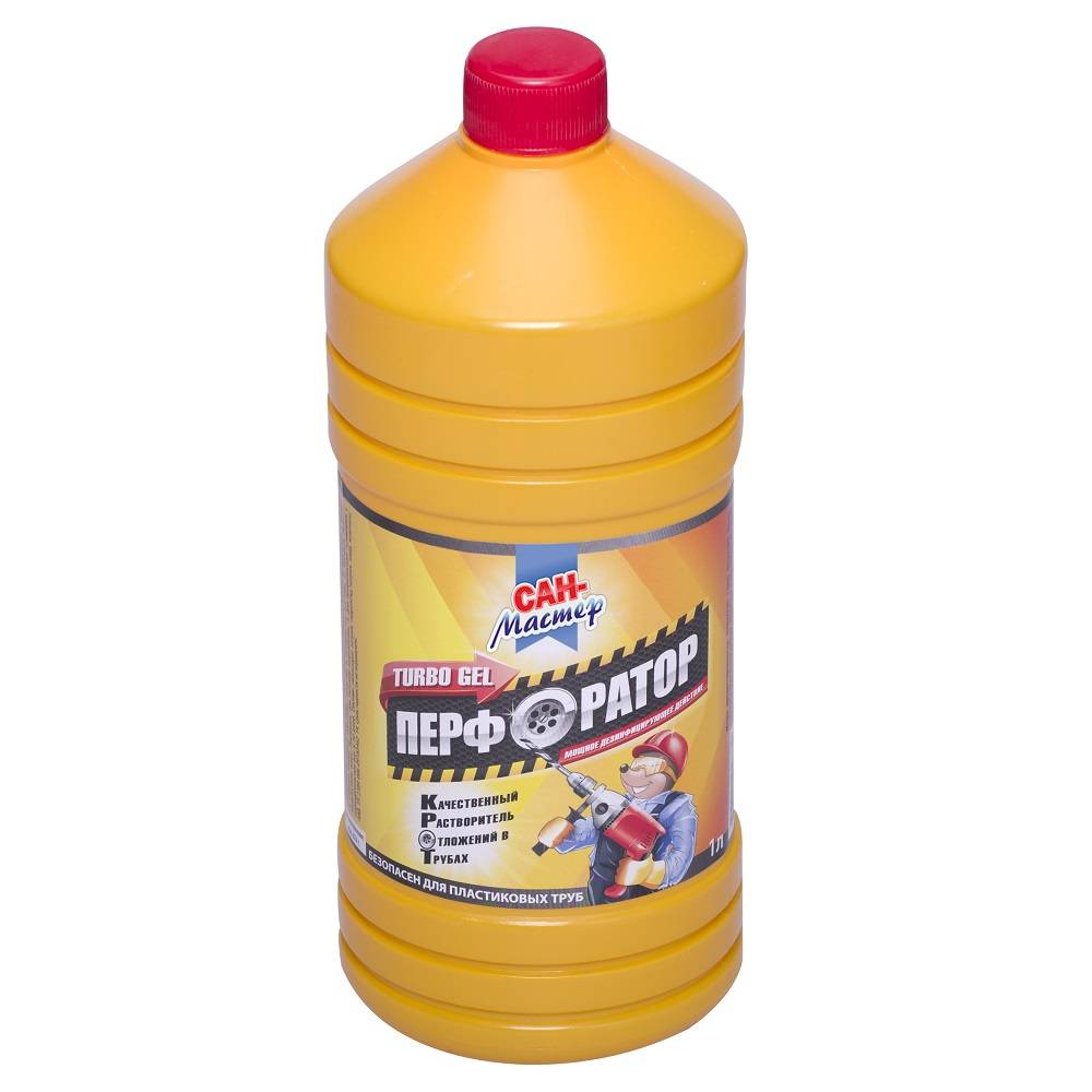 Чистящее средство для канализационных труб, гель САН МАСТЕР Перфоратор турбо 1 л