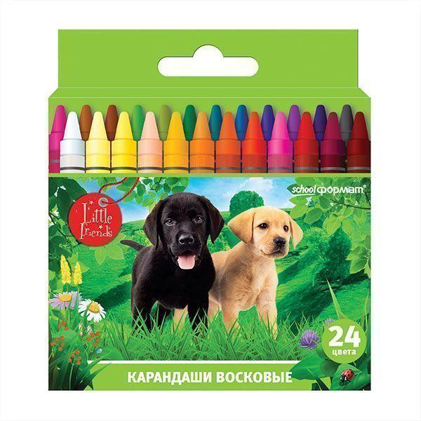 Восковые карандаши ЛЮБИМЫЕ ПИТОМЦЫ 24 цвета круглые диаметр 8 мм