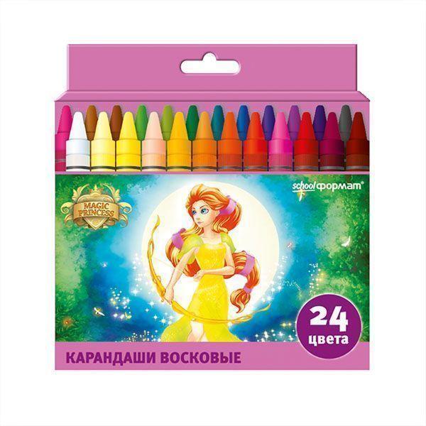 Восковые карандаши ПРИНЦЕССЫ-ВОЛШЕБНИЦЫ 24 цвета круглые диаметр 8 мм