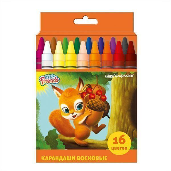 Восковые карандаши ПУШИСТЫЕ ЗВЕРЯТА 16 цветов круглые диаметр 8 мм