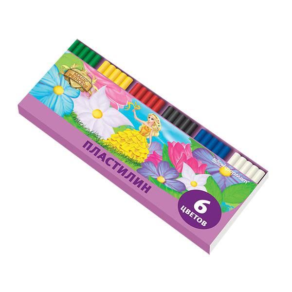 Пластилин Schoolformat ПРИНЦЕССЫ-ВОЛШЕБНИЦЫ 6 цветов, 120 г со стеком