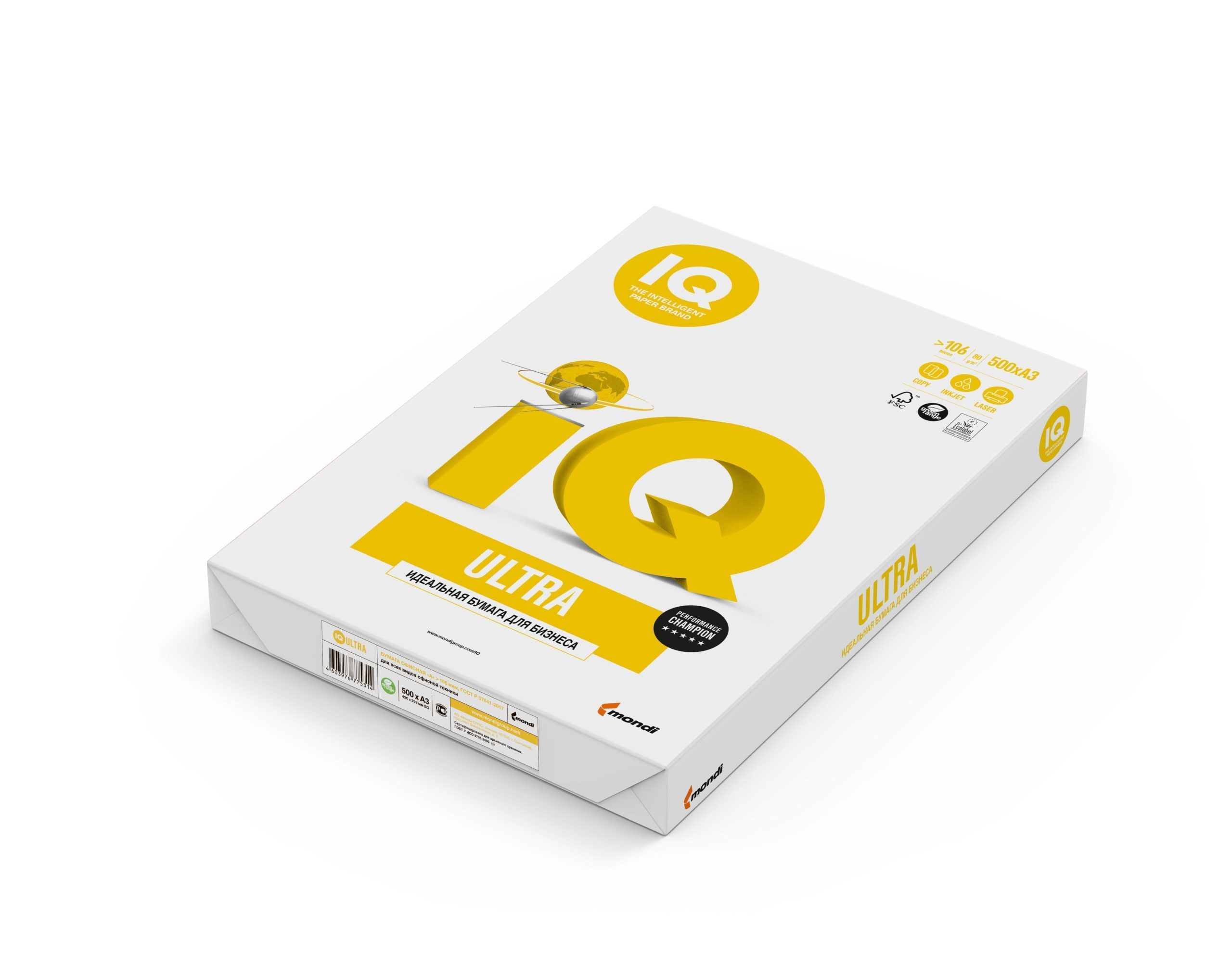 Бумага IQ ULTRA А3, 80 г/м2, 500 листов, 168% (CIE)