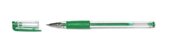 Ручка гелевая COMFORT 0,7 мм зеленая резиновый грип