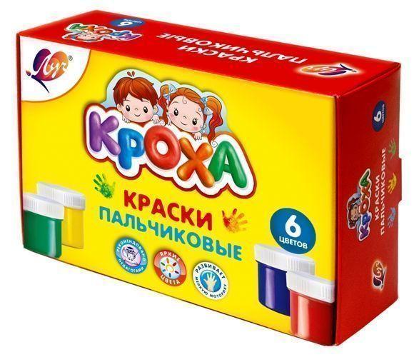 Краски пальчиковые КРОХА 40 мл 6 цветов картонная упаковка