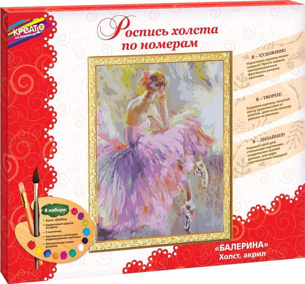 Набор для росписи холста по номерам БАЛЕРИНА 40х50 см 7+