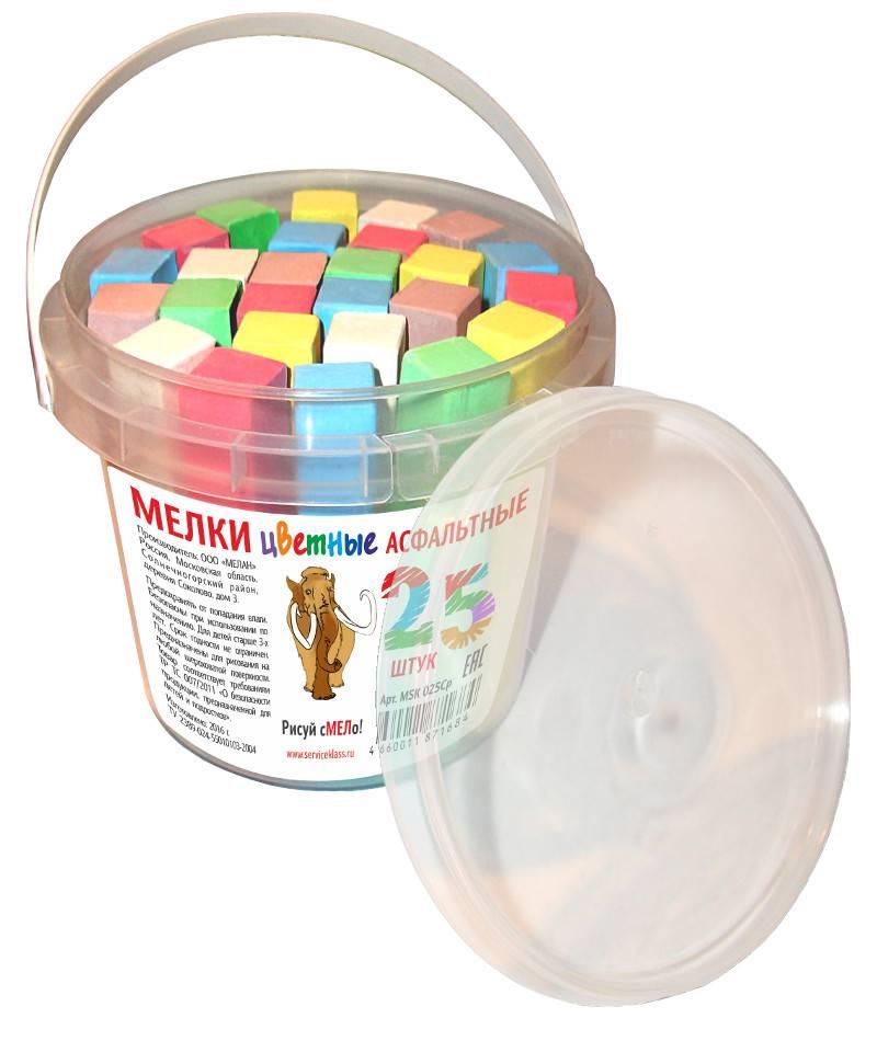 Мелки цветные для асфальта МЕЛАН 25 штук, 5 цветов, в ведре