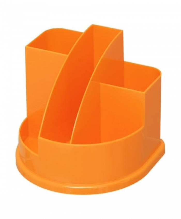 Подставка для канцелярских принадлежностей АВАНГАРД, 5 отделений оранжевый интенсив пластик