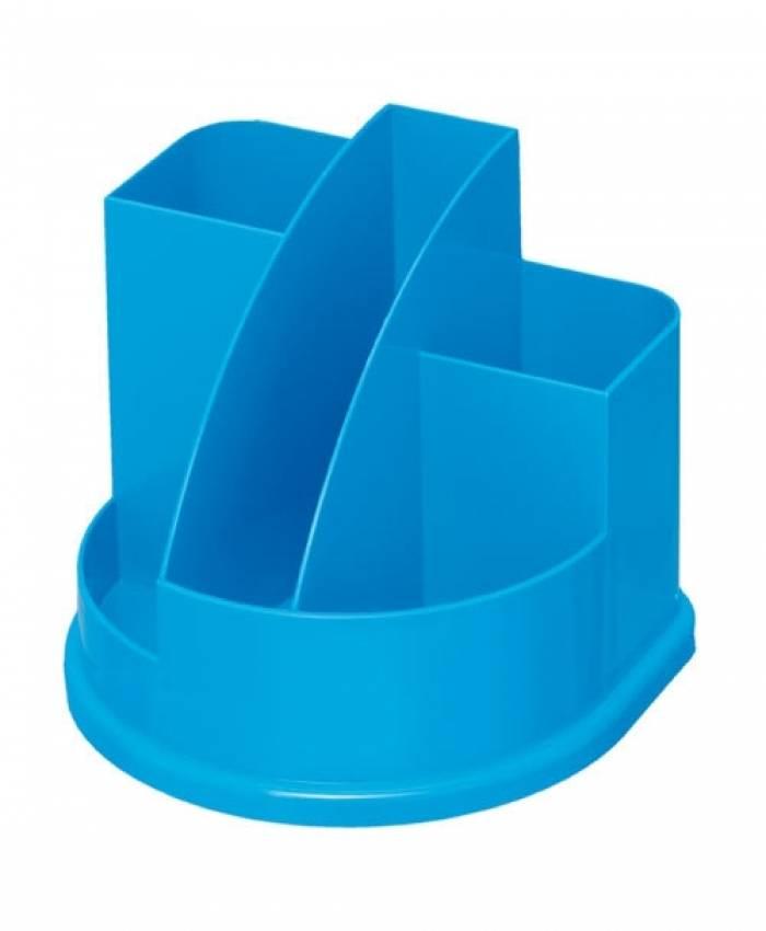 Подставка для канцелярских принадлежностей АВАНГАРД, 5 отделений голубой интенсив пластик