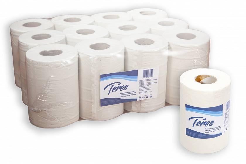 Полотенце бумажные ТЕРЕС КОМФОРТ, 1 слойное, центральная вытяжка, 120 м, белый