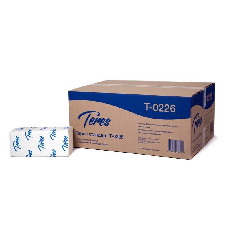 Полотенце бумажные ТЕРЕС СТАНДАРТ, 1 слойное, V(ZZ)-сложение, 23х22 см (к дисп 153930,153916), 200 л., белый