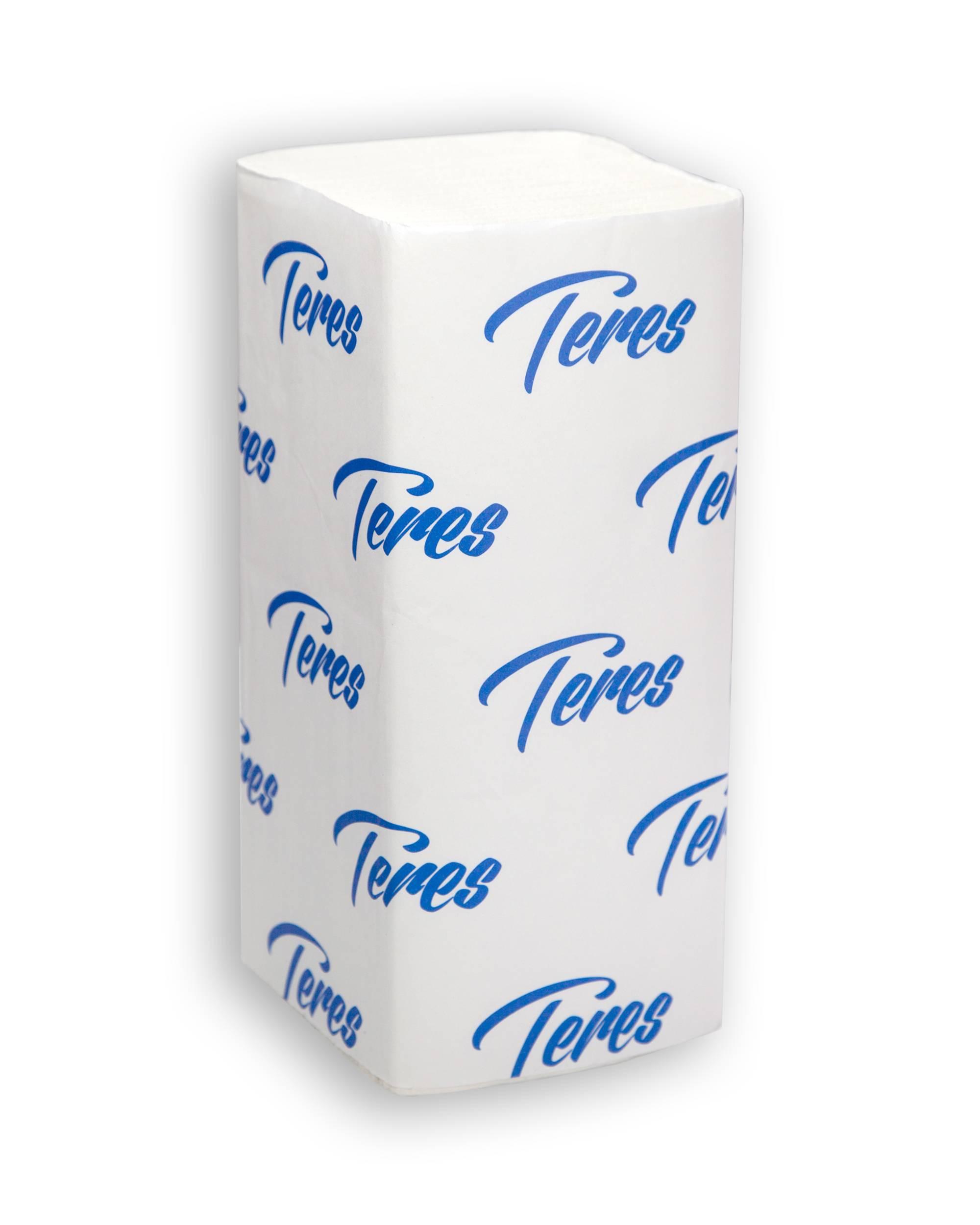 Полотенце бумажные ТЕРЕС СТАНДАРТ, 1 слойное, V(ZZ)-сложение, 23х21,5 см (к дисп 153930,153916), 250 л., белый