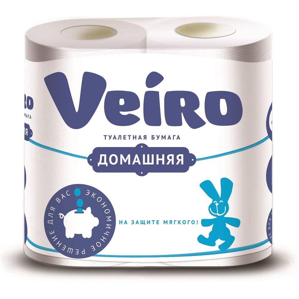 Туалетная бумага, VEIRO ДОМАШНЯЯ, 2 слойная, 15 м, 4 шт, белый