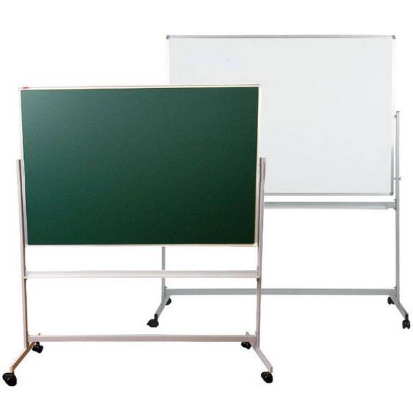 Доска магнитно-маркерная/меловая inФОРМАТ 100×120 cм поворотная мобильная, лаковое покрытие, алюминевая рама