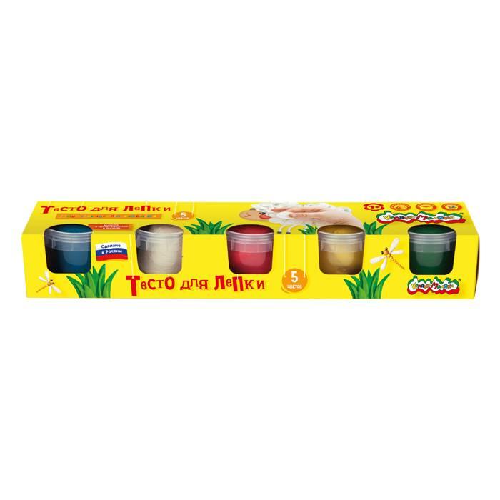 Тесто для лепки,3+, Каляка-Маляка, 5 цветов по 90 гр в банке, с брошюрой, в коробке
