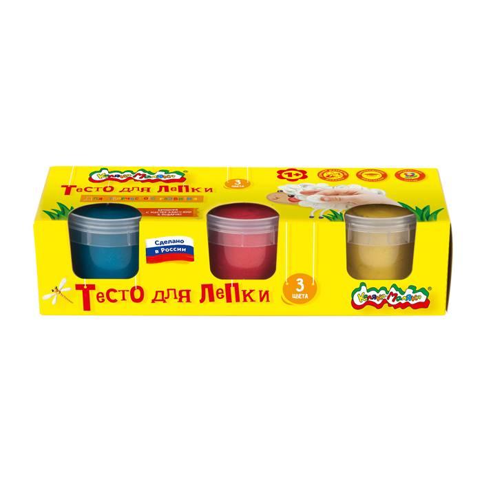 Тесто для лепки Каляка Маляка, 3 цвета (красный, желтый, синий) по 90 гр в банке. В коробке