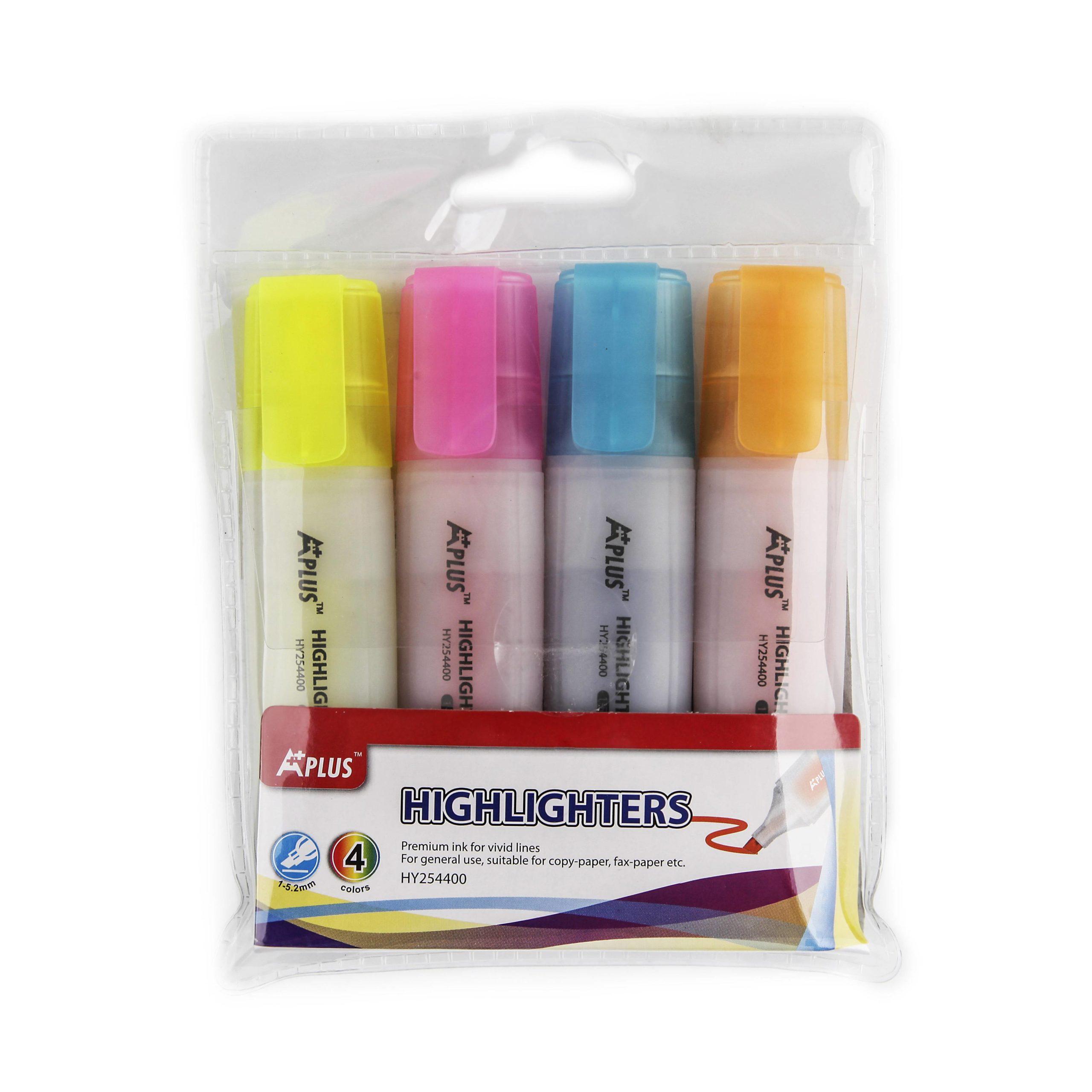 Набор текстовых маркеров A-PLUS 1-4 мм ассорти скошенный 4 цвета