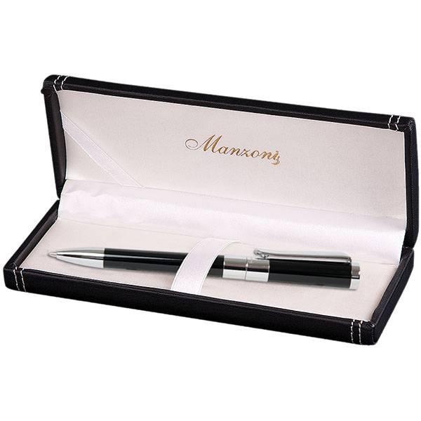 Ручка шариковая, FORLI, корпус черный, футляр кожзам
