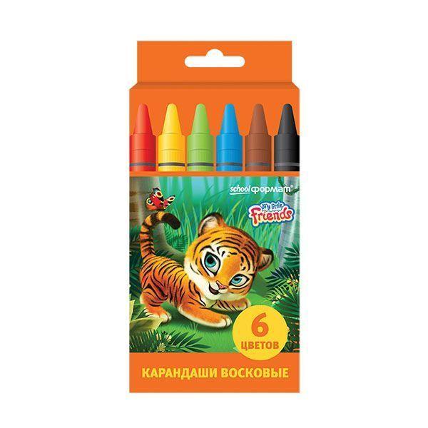 Восковые карандаши ПУШИСТЫЕ ЗВЕРЯТА 6 цветов круглые