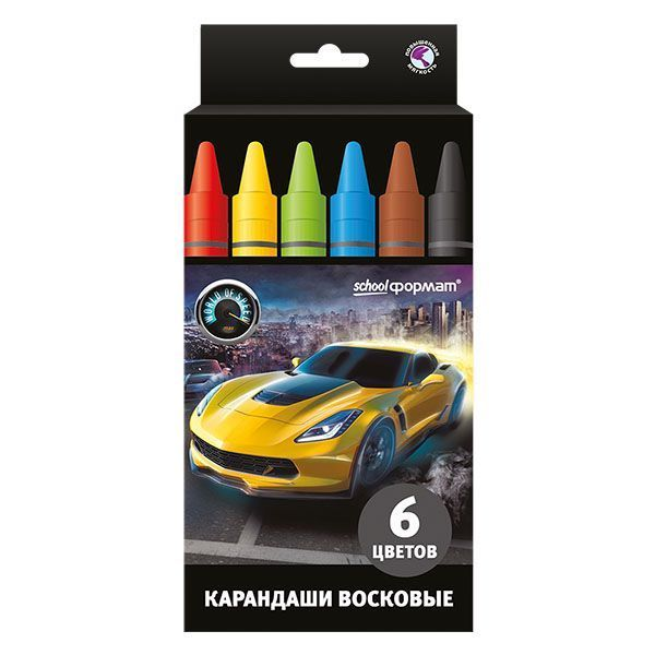 Восковые карандаши МИР СКОРОСТИ 6 цветов круглые