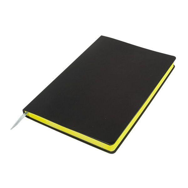 Бизнес-блокнот подарочный А5 128 листов GF Black, ляссе, внутренний карман, отрывной уголок