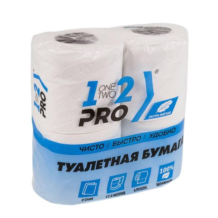 Туалетная бумага, 1-2-Pro, 17,5 м, 4 рулона, белая