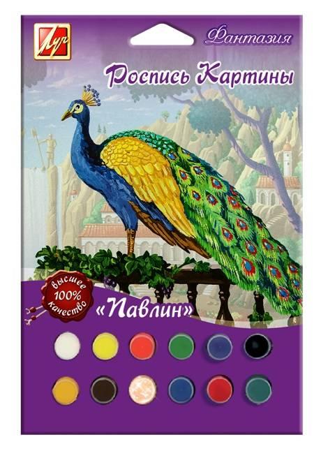 Набор для росписи картины ПАВЛИН А4 (заготовка, гуашь 11 цв., гель, кисть)