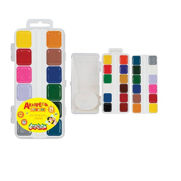 Акварель Каляка-Маляка, 24 цвета, квадратный кювет, пластиковая упаковка, без кисти, европодвес