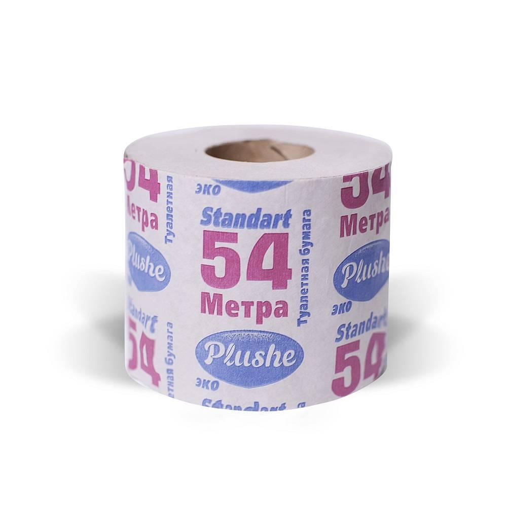 Туалетная бумага, PLUSHE ECO, 1 слойная, 54 м, 1 шт, серый, втор. сырье