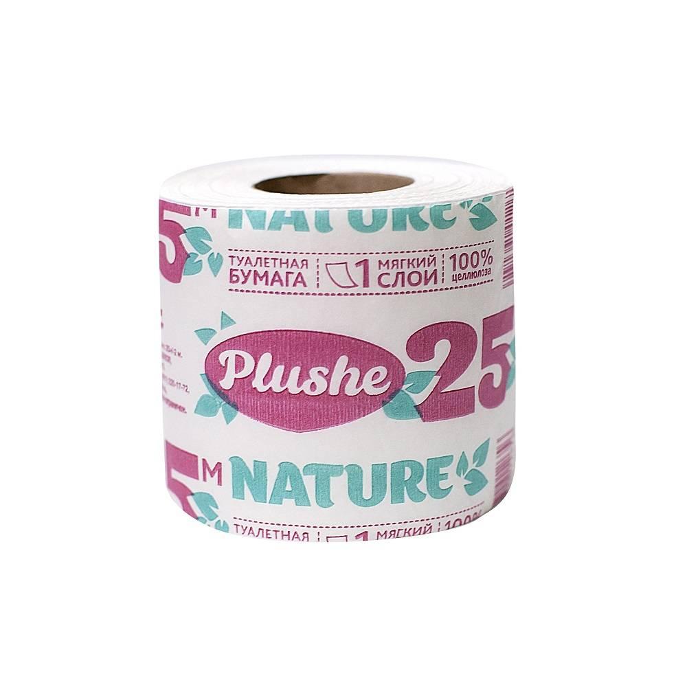 Туалетная бумага, PLUSHE Nature, 1 слойная, 25 м, 1 шт, белый