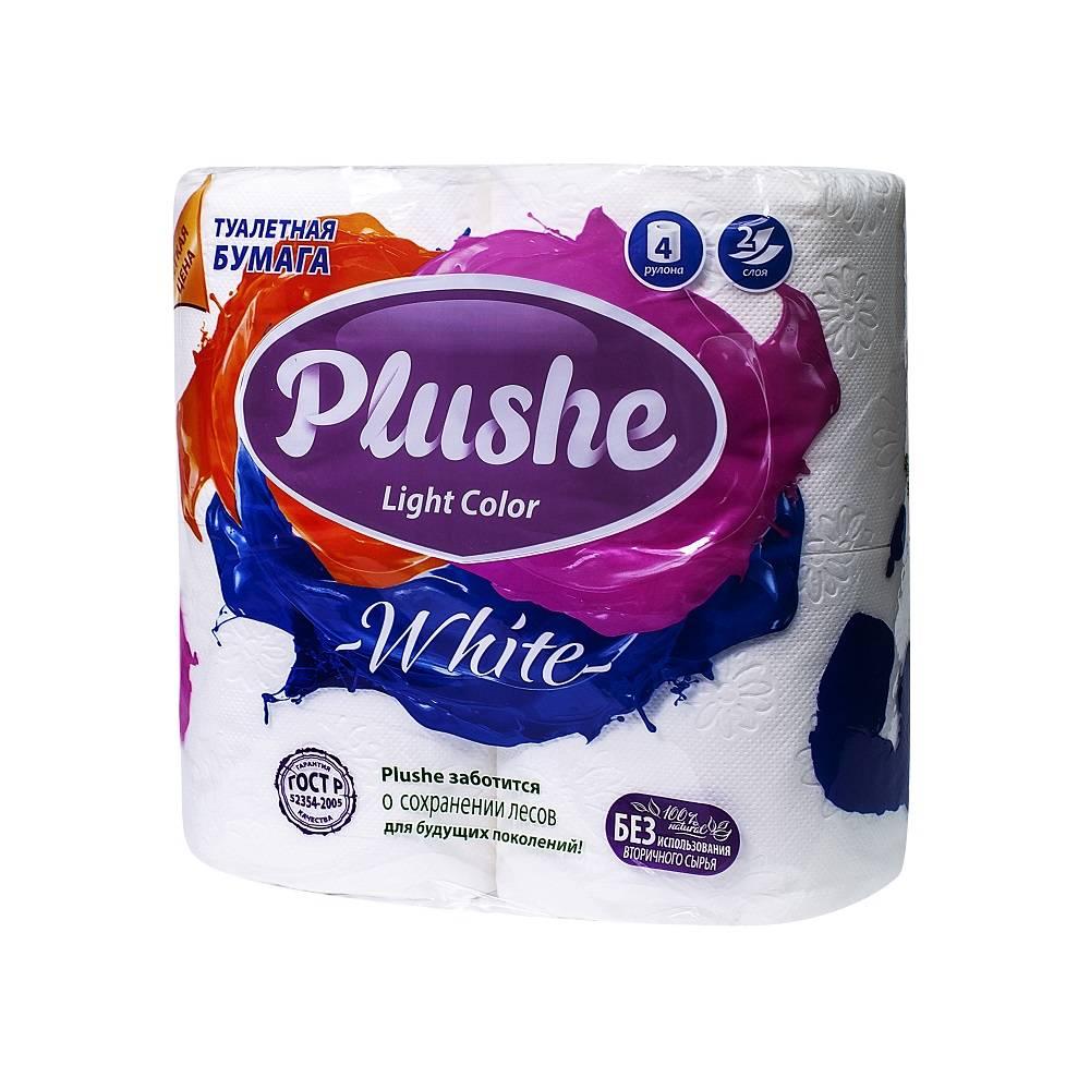 Туалетная бумага, PLUSHE Light White, 2 слойная, 15 м, 4 шт, белый
