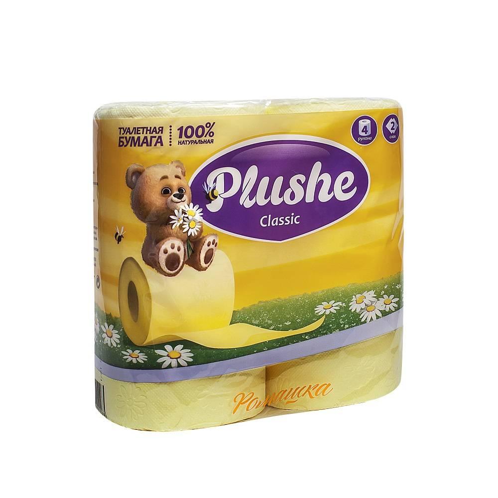 Туалетная бумага, PLUSHE Classic, 2 слойная, 18 м, 4 шт, жёлтый