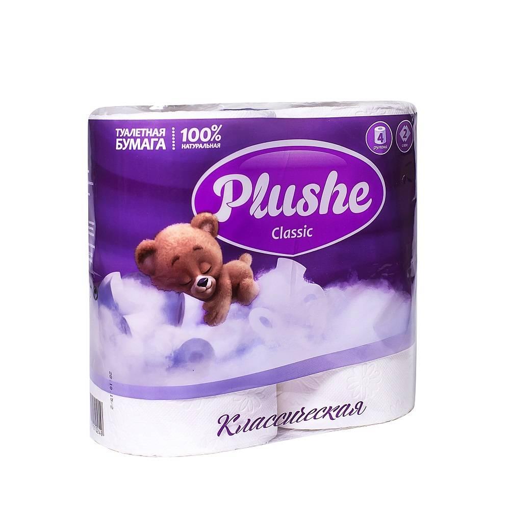 Туалетная бумага, PLUSHE Classic, 2 слойная, 18 м, 4 шт, белый
