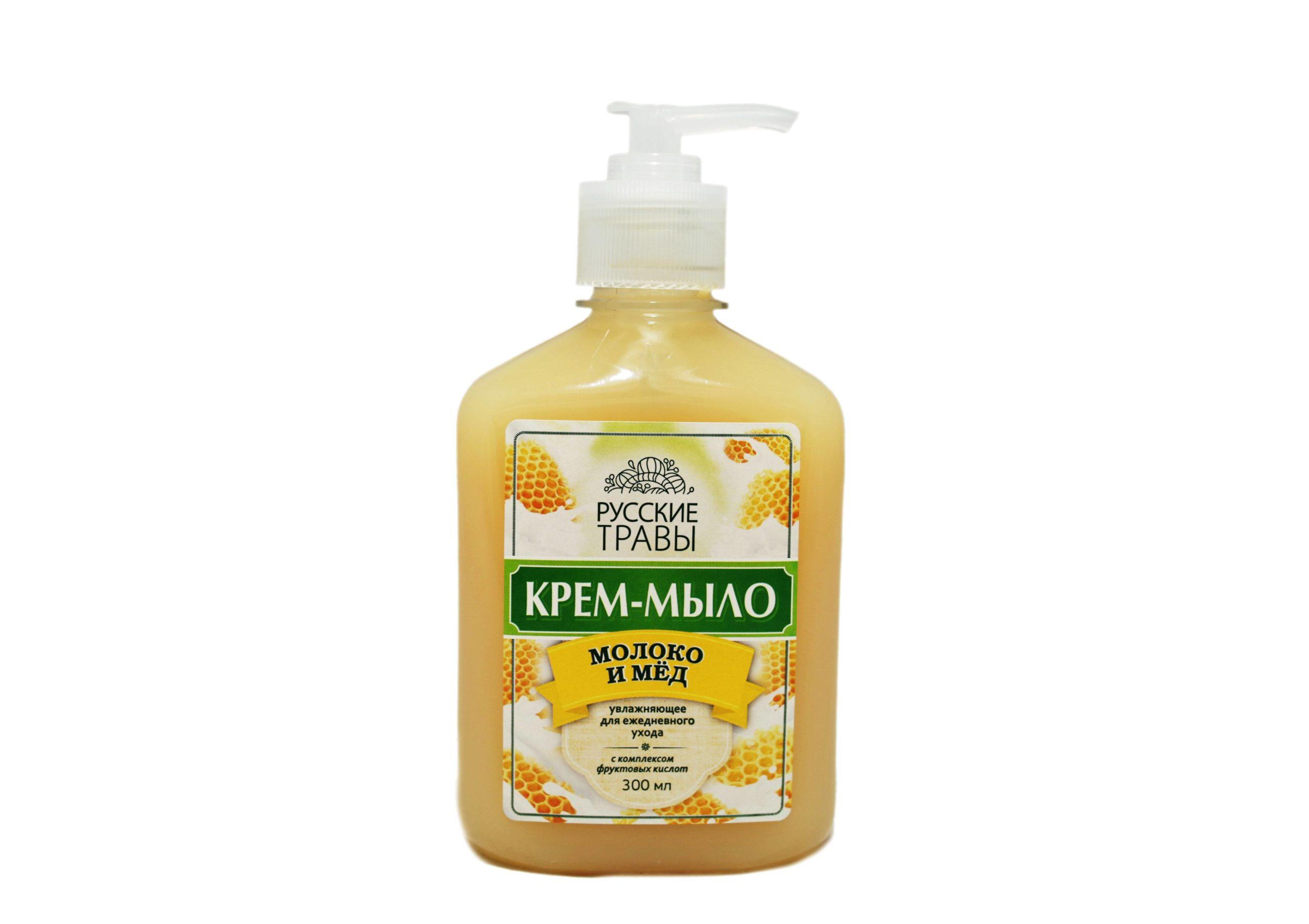Мыло жидкое РУССКИЕ ТРАВЫ Молоко и мед 300 мл с дозатором