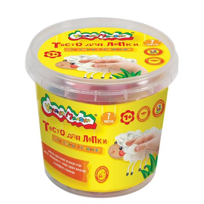 Тесто для лепки Каляка-Маляка® в банке, 7 цветов, 210 г, 2 формочки
