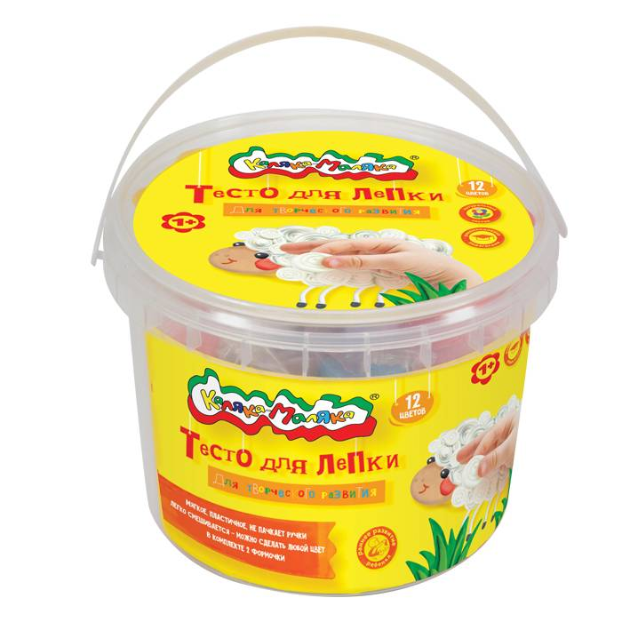 Тесто для лепки Каляка-Маляка® в банке, 12 цветов, 360 г, 2 формочки