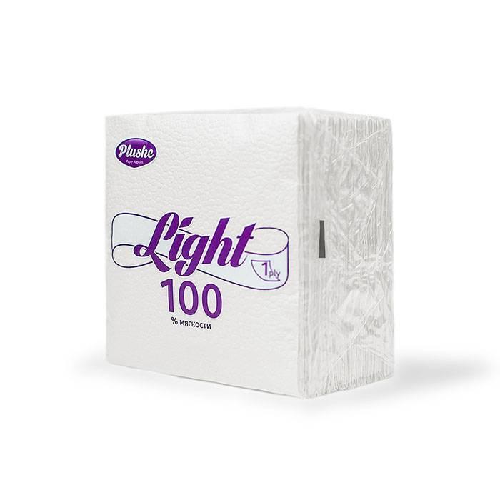 Салфетки бум. 1 сл. PLUSHE Light 90 шт 22,5х22,5 см белый