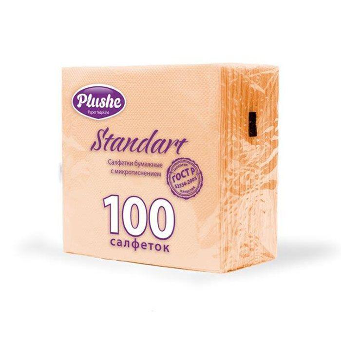 Салфетки бумажные PLUSHE Standart, 1 слойные, микротиснение, 24х24 см, 100 л., молочный