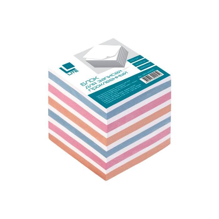 Блок для записей проклеенный LITE КУБ 90х90х90 мм, 4 цвета