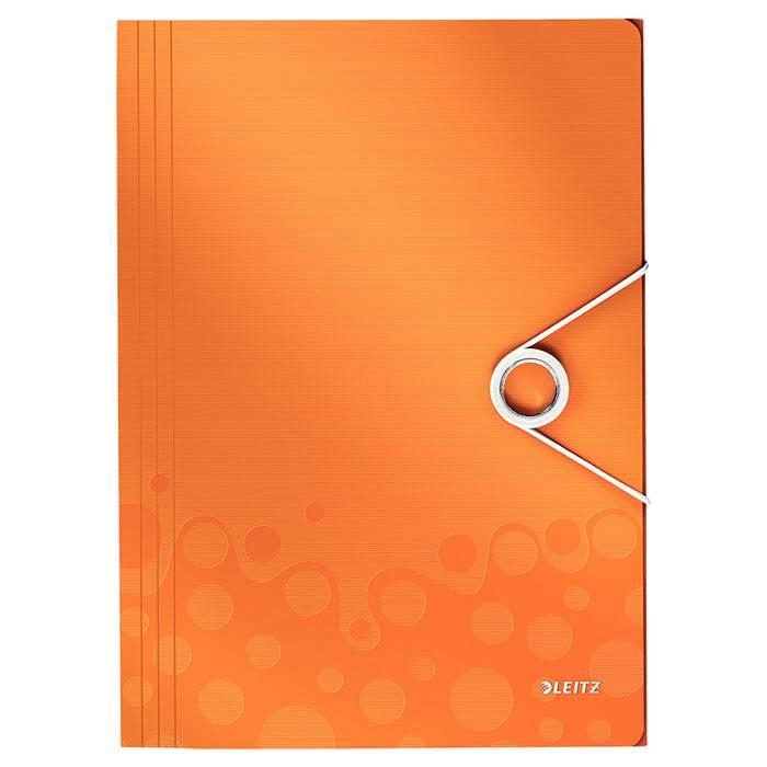 Папка с резинкой LEITZ WOW А4 8 мм пластик оранжевая