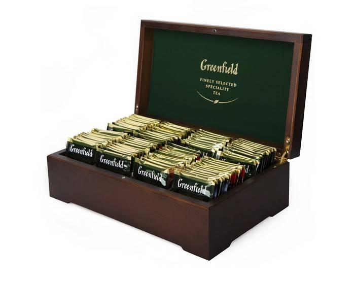 Чай GREENFIELD 8 видов ассорти 96 пакетиков, деревянная шкатулка