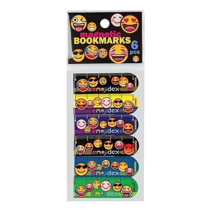 Закладки для книг СМАЙЛЫ магнитно- пластиковые 6 шт в компл., ассорти, блистер