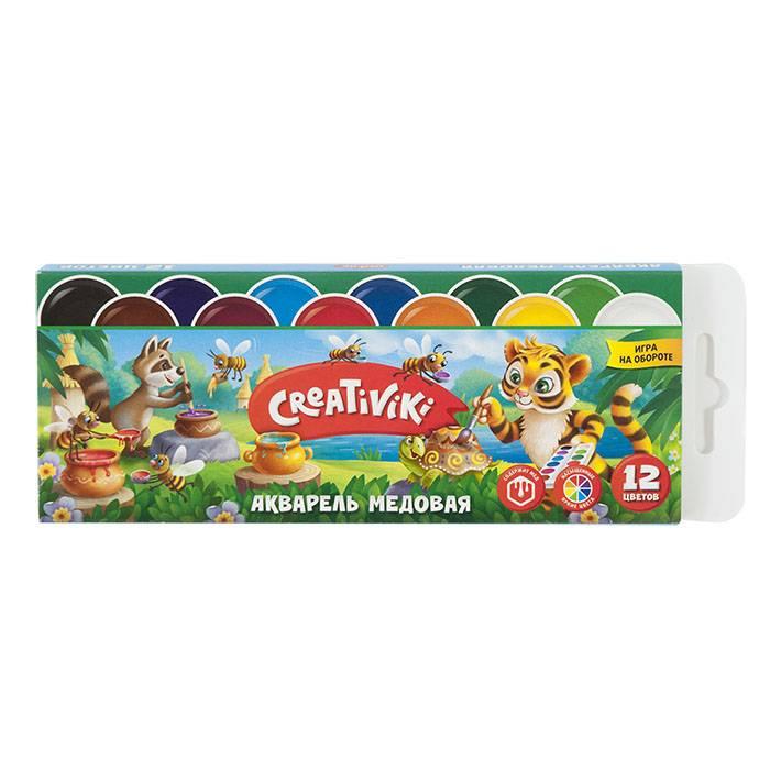 Акварель Creativiki 12 цветов, картонная упаковка, без кисти