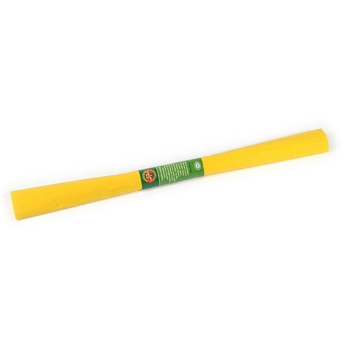 Бумага цветная крепированная KOH-I-NOOR желтая 50х200 см, 32 г/м2 в рулоне